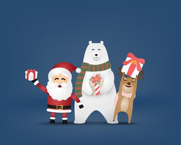 Vrolijke kerstviering en gelukkig nieuwjaar achtergrond in papier gesneden stijl.