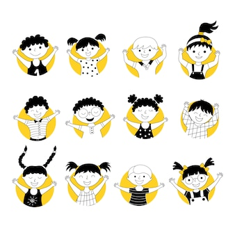 Vrolijke kinderen avatars cartoon illustraties set