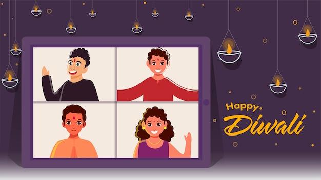 Vrolijke kinderen hebben videochat samen op het scherm van de smartphone