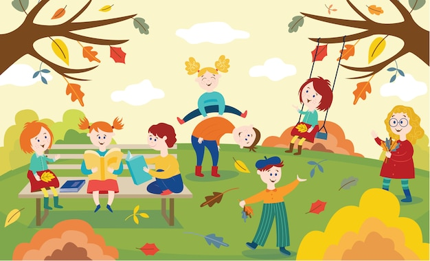 Vrolijke kinderen spelen, springen en lezen van boeken buiten in de herfst park of tuin.