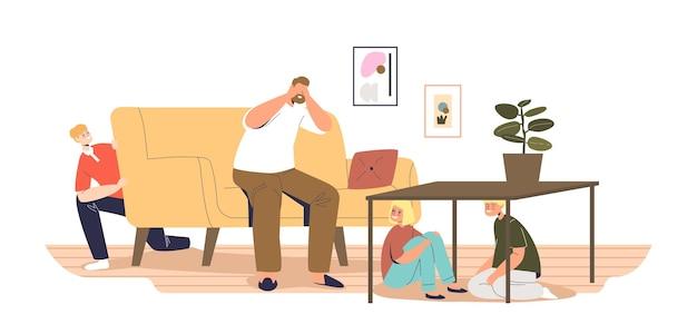 Vrolijke kinderen verstoppen zich in de woonkamer van vader en tellen verstoppertje thuis. kinderen en vader spelen binnen samen. vrijetijdsbesteding voor familieconcept. cartoon platte vectorillustratie