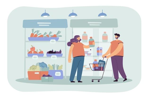 Vrolijke klanten winkelen in de supermarkt met kar geïsoleerde vlakke afbeelding. cartoon afbeelding