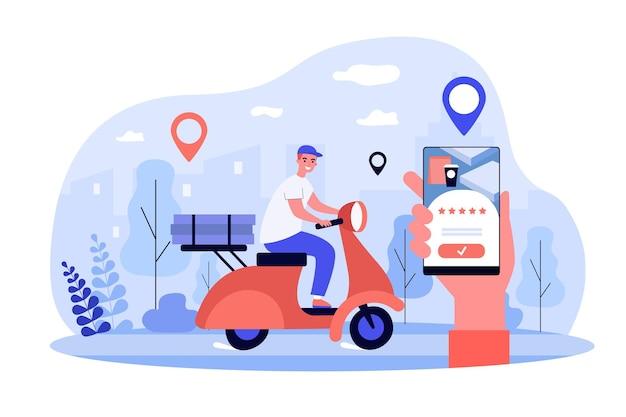 Vrolijke koeriers die op een scooter rijden en pakketten bezorgen