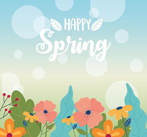 Vrolijke lente kaart, bloemen gebladerte natuur decoratie onscherpe achtergrond