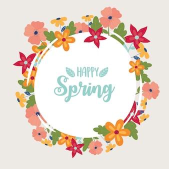 Vrolijke lente ronde kaart bloemen frame decoratie