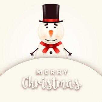 Vrolijke, leuke, glimlachende sneeuwmanillustratie die zich achter een uithangbord met vervangbare teksten bevindt