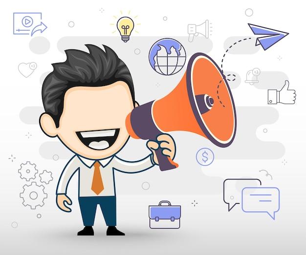 Vrolijke man met megafoon marketingconcept in cartoon vectorstijl
