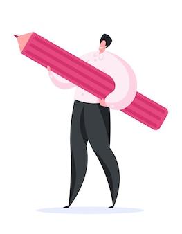 Vrolijke mannelijke ontwerper die groot potlood draagt
