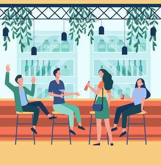 Vrolijke mannen en vrouwen die in pub vlakke afbeelding zitten.
