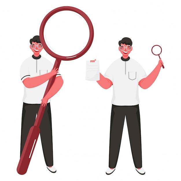 Vrolijke mannen houden vergrootglas met papier in staande houding.