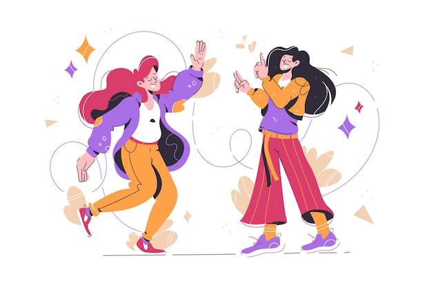 Vrolijke meisjes dansen en veel plezier vectorillustratie leren nieuwe bewegingen op dansles