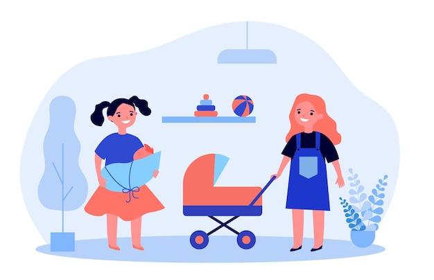Vrolijke meisjes die poppen spelen. rollenspel, acterende moeder, speelgoedwandelwagen. flat vector illustratie