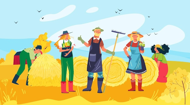 Vrolijke mensen groeperen karakter samen oogsten gewas vlakke afbeelding