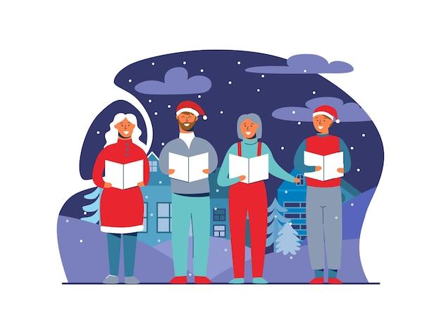 Vrolijke mensen in kerstmutsen zingen kerstliederen. wintervakantie tekens op besneeuwde achtergrond. xmas zangers.
