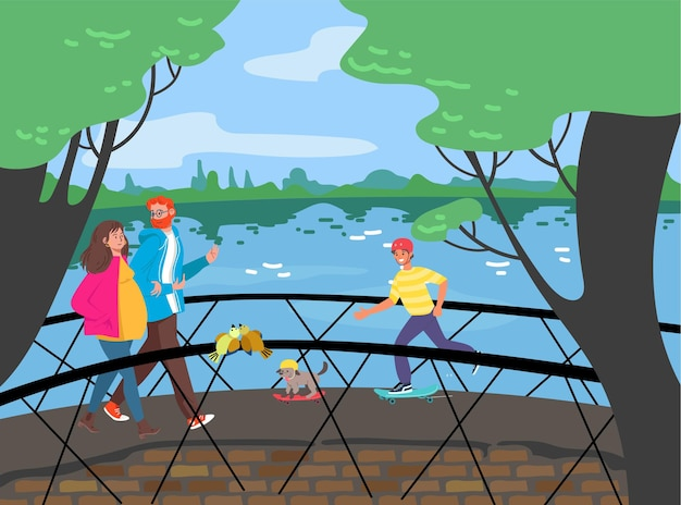Vrolijke mensen lopen brug over de rivier, wandelen door het stadstuinpark