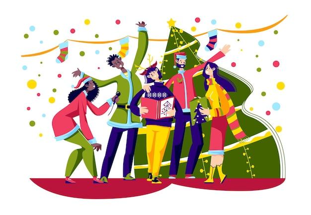 Vrolijke mensen zingen kerstliederen met kerstmutsen over versierde kerstboom