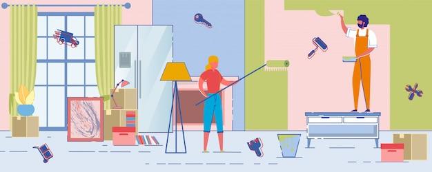 Vrolijke nieuwe bewoners repareren huis en verfmuur.