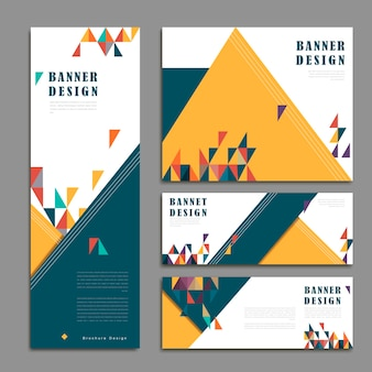 Vrolijke ontwerpset voor spandoeksjabloon met driehoekenelement