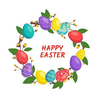 Vrolijke paaskrans in felle kleuren feestelijke decoratie met lente-elementen bloemen en eieren