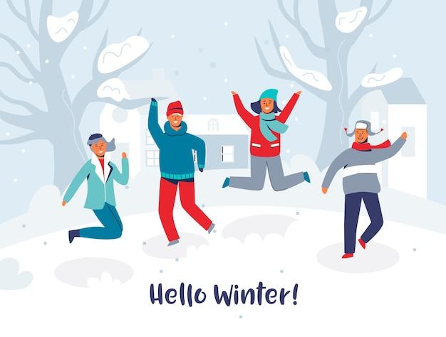 Vrolijke personages vrienden springen in de sneeuw. mensen in warme kleren op prettige vakantie. hallo winter card. man en vrouw buiten plezier.