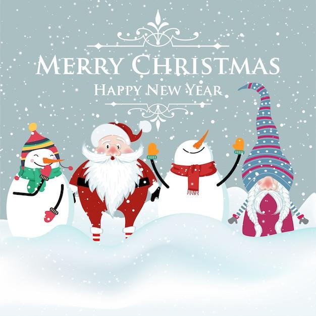 Vrolijke platte ontwerp kerstkaart met sneeuwpop, kerstman en kabouter. kerstmis.