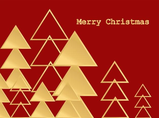Vrolijke rode kerstkaart met gouden geometrische sparren