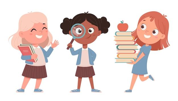 Vrolijke schoolmeisjes, set van drie poses. leuke meisjes stripfiguren. terug naar schoolconcept