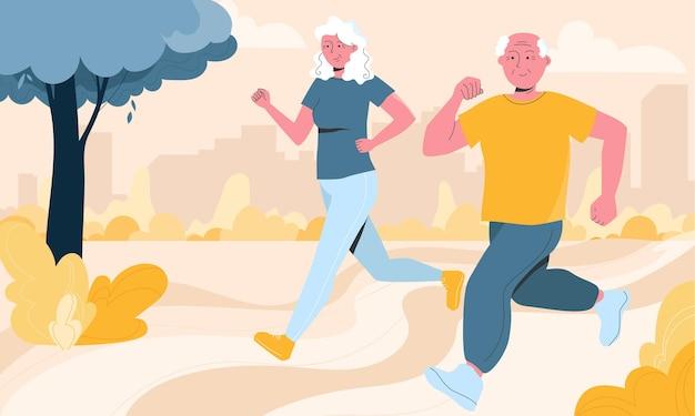 Vrolijke senior paar bezig met joggen in lokale park horizontale afbeelding