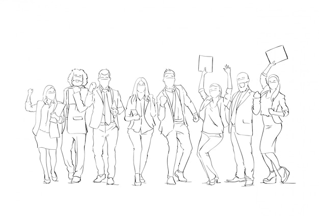 Vrolijke silhouet mensen uit het bedrijfsleven groep schets happy ondernemers team met opgeheven handen op witte achtergrond