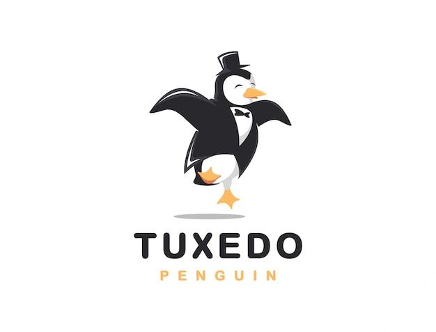 Vrolijke smoking pinguïn logo cartoon afbeelding