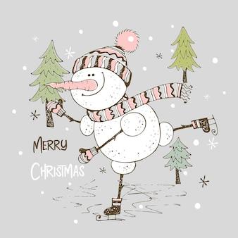 Vrolijke sneeuwpop schaatsen. kerstkaart.