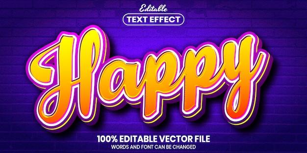 Vrolijke tekst, bewerkbaar teksteffect in lettertypestijl