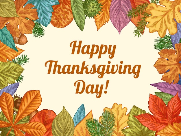 Vrolijke thanksgiving. hand getekende kleurrijke herfstbladeren. november vakantie thanksgiving ontwerp voor kaarten, banners, uitnodiging vector achtergrond. loof als eik, eikel en kastanje, esdoornblad