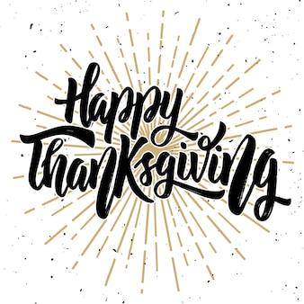 Vrolijke thanksgiving. hand getekende offerte op witte achtergrond. illustratie