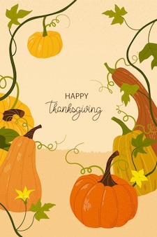 Vrolijke thanksgiving. leuke herfstachtergrond met bladeren en pompoenen.