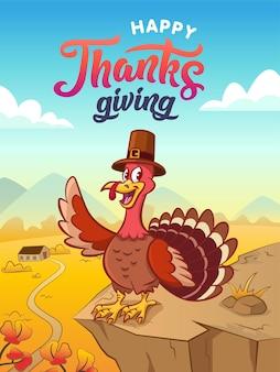 Vrolijke thanksgiving. wenskaart. happy cartoon kalkoen in pelgrimshoed