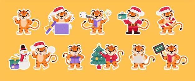 Vrolijke tijger collectie chinees nieuwjaar sticker cartoon dier 2022