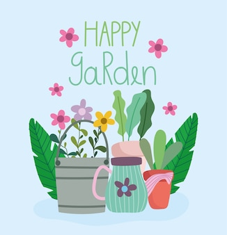 Vrolijke tuin, emmer gieter, bloemen en potplanten