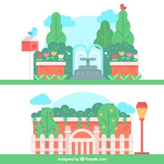 Vrolijke tuinlandschap