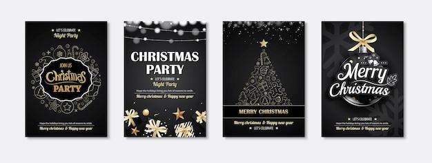Vrolijke uitnodigingen voor een kerstfeest op zwarte achtergrond.