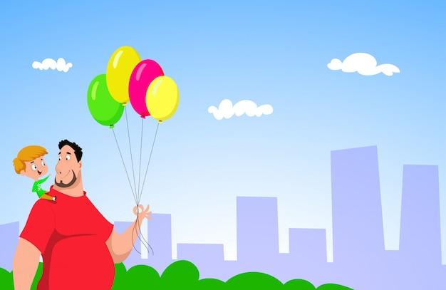 Vrolijke vader en zoon lopen samen met ballonnen