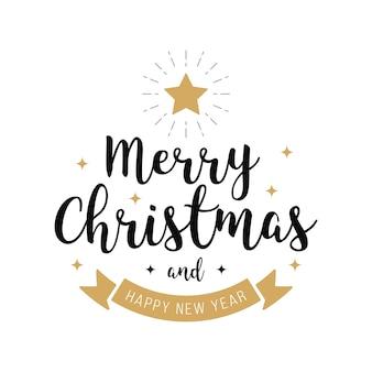 Vrolijke van de de tekstster van de kerstmisgroet de gouden witte achtergrond