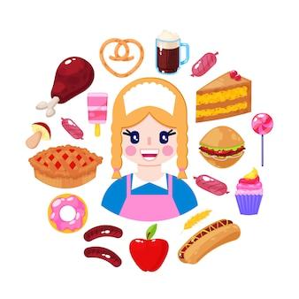 Vrolijke verkoper en snel voedsel op witte achtergrond. supermarkt werknemer. vector illustratie
