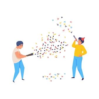 Vrolijke vierende mensen met confetti vlakke afbeelding