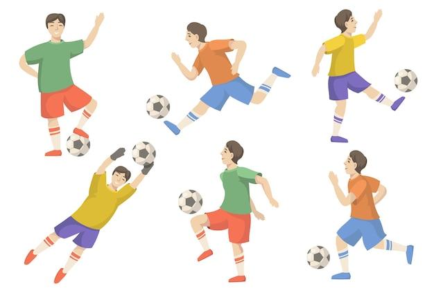 Vrolijke voetballers vlakke afbeelding instellen
