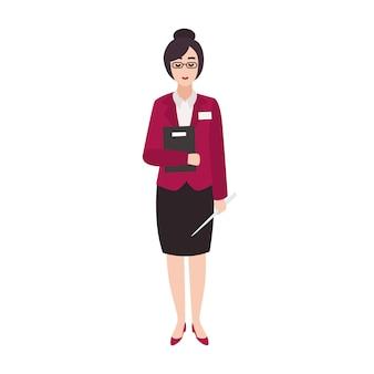 Vrolijke vrouw basisschool leraar of onderwijs werknemer bedrijf boek en aanwijzer. glimlachend vrouwelijk beeldverhaalkarakter dat op wit wordt geïsoleerd