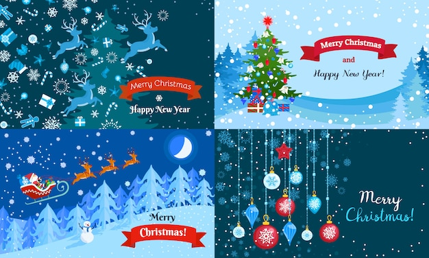 Vrolijke winter kerst banner set.