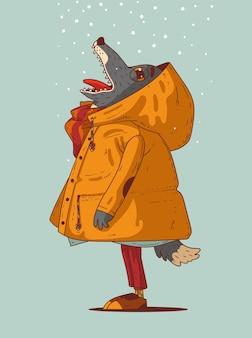 Vrolijke wolf die mooie sneeuwvlokken bewondert en een wens doet