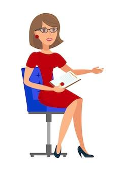 Vrolijke zakenvrouw platte vectorillustratie