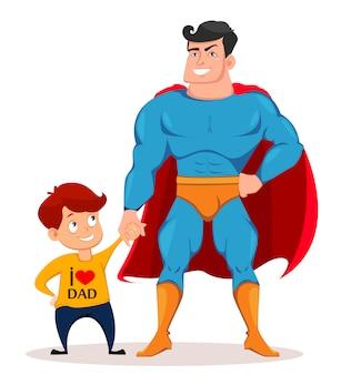 Vrolijke zoon en vader in kostuum van superheld